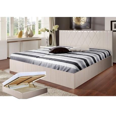 Кровать со спинкой из экокожи